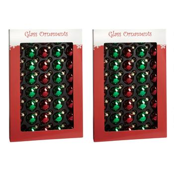 40-Count Green/Red Shiny Glass Ornaments, Set of 2
