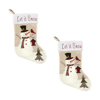 """Let it Snow"" Sherpa Cuff Snowman Burlap Stockings, Set of 2"