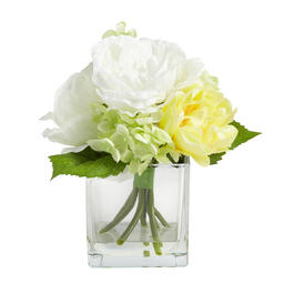 "9"" Artificial Blossoms in Square Glass Vase view 1"