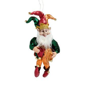 "14"" Red/Gold Jester Elf Poseable Ornament"