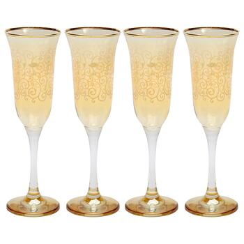 Boho Scroll European Champagne Flute Glasses, Set of 4