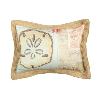 "16""x21"" Sand Dollar Oblong Throw Pillow with Jute Border"