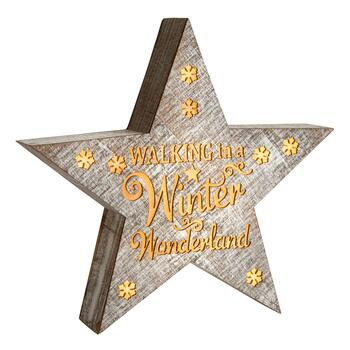 "10.5"" ""Walking in a Winter Wonderland"" LED Wood Star Wall Decor"