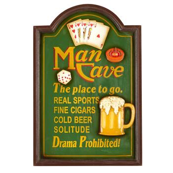 "16""x24"" ""Man Cave"" Beer and Cards Wall Sign"