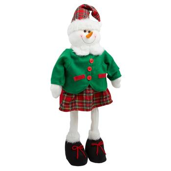 "28"" Plaid Dress/Red Shoelaces Standing Snow Girl"