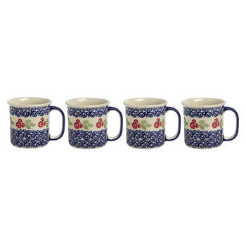 Polish Pottery Red Flowers Can Mugs, Set of 4 view 1