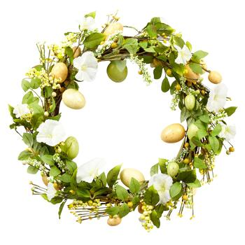 "22"" Yellow Flower Speckled Egg Wreath"