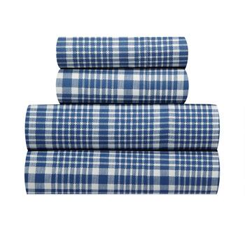 Blue Stripe Plaid Bed Sheet Set