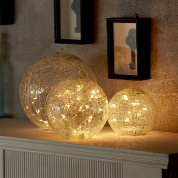LED Crackle Glass Globes, Set of 3