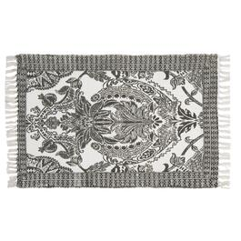 "27""x45"" Grey/White Floral Print Accent Rug"