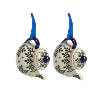 Polish Pottery Hand-Painted Blue Star Teapot Ornaments, Set of 2 view 1