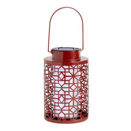 "8"" Geometric Punched Metal Solar Lantern view 1"