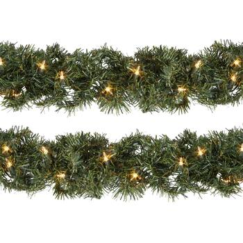 9' White Pre-Lit Artificial Evergreen Branch Garlands, Set of 2