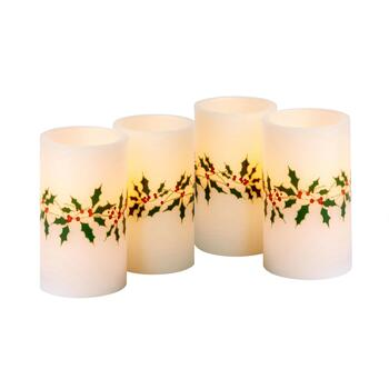 "5"" Holly and Berries LED Pillar Candles, Set of 4"