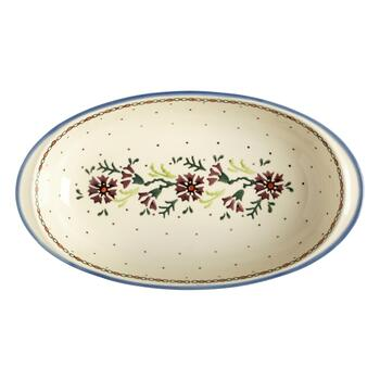 Oval Watercolor Flowers Vegetable Bowl view 2