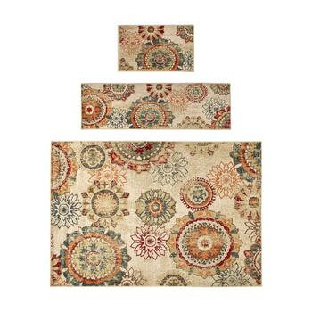 Medallion Printed Rug Set, 3-Piece