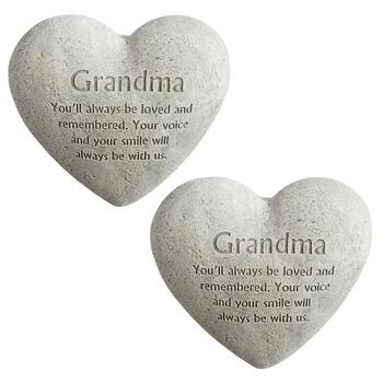 """Grandma"" Memorial Heart Stones, Set of 2"