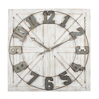 "The Grainhouse™ 31.5"" Wood/Metal Square Wall Clock"