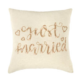 """Just Married"" Beaded Square Throw Pillow view 1"