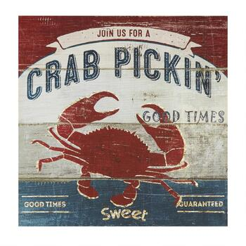 "30"" Crab Pickin' Canvas Wall Decor"