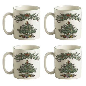 Spode Christmas Tree Garland Mug, Set of 4