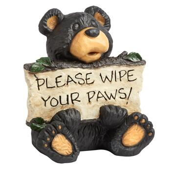 """Please Wipe Your Paws!"" Bear Garden Sitter"