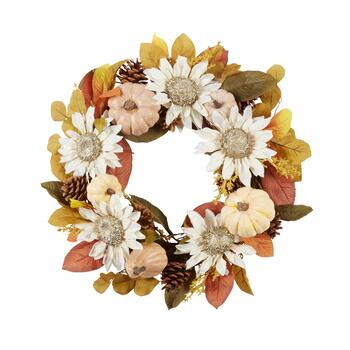 "22"" Harvest Sunflower Pumpkin Wreath"
