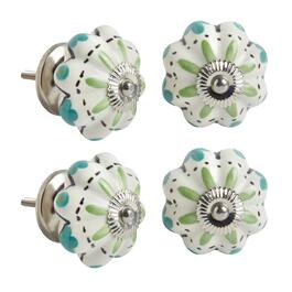 Green/Teal Decorative Furniture Knobs, Set of 4