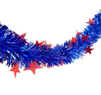 9' Tinsel Garlands with Die-Cut Stars, Set of 2