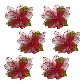 Red Poinsettia Clip-On Ornaments, Set of 6