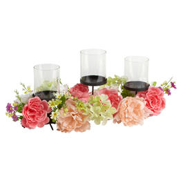 Pink Blossoms 3-Cup Candle Holder Centerpiece view 1