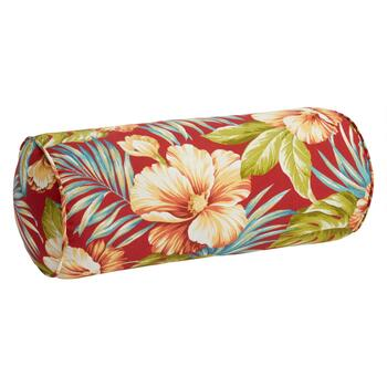 Red Tropical Indoor/Outdoor Lumbar Roll Pillow