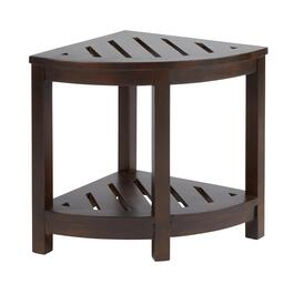 Dark Brown Acacia Wood Corner Bath Stool