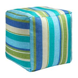 Green/Blue Striped Indoor/Outdoor Square Ottoman