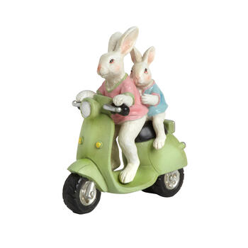 "7"" Bunnies Riding on Moped view 1"