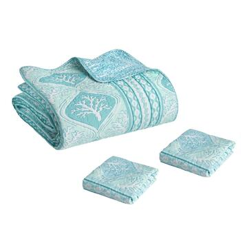 Panama Jack® Blue Coastal Coral Quilt Set view 2