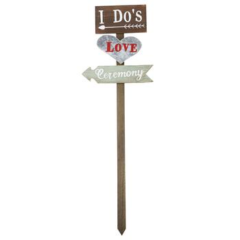 "37"" ""I Do's"" Wedding Directions Wood Stake"