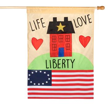 "40"" ""Life Love Liberty"" American Yard Flag"