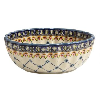 Polish Pottery Blue Linked Florals Large Fluted Serving Bowl