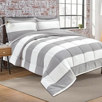 Yarn-Dyed Striped Comforter Set, 3-Piece