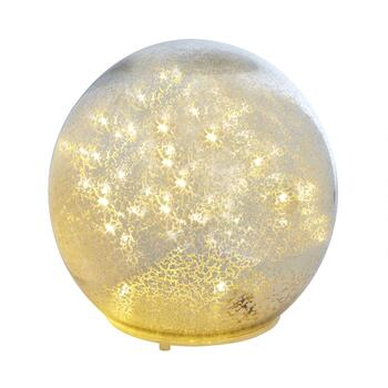 Silver LED String Light Mercury Glass Orb with Timer