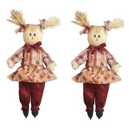 "23"" Red Pants Sitting Girl Scarecrows Decor, Set of 2"