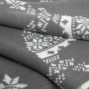 Gray Reindeer Knitted-Style Woven Throw Blanket view 2