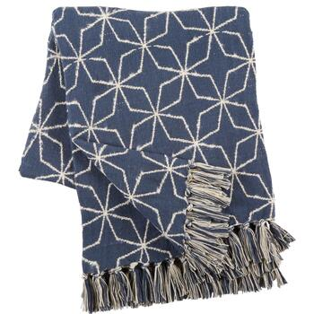 Naya Geometric Fringe Jacquard Cotton Throw Blanket