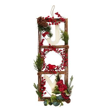 "28.5"" ""Joy"" Evergreen & Berries Hanging Wall Decor view 1"