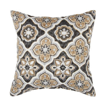 Brown/Black Medallion Square Throw Pillow view 1