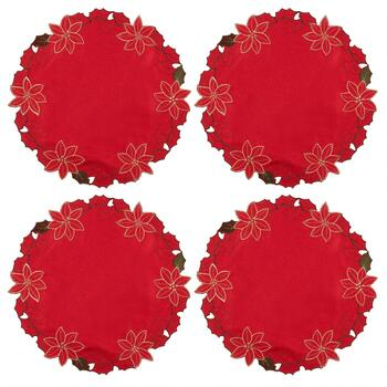 Red/Gold Flower Cutwork Placemats, Set of 4