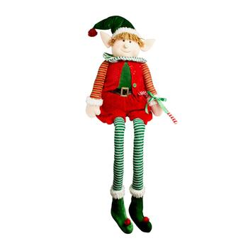 "68"" Sitting Christmas Elf Boy with Green Hat"