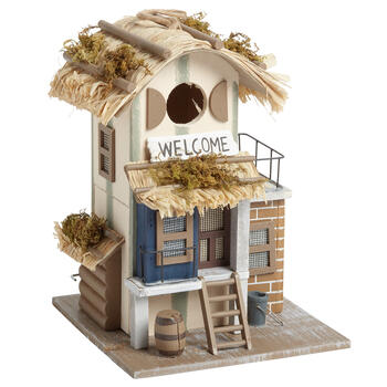 """Welcome"" Decorative Tiki Hut Birdhouse view 1"