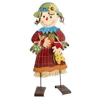 "24"" Girl Scarecrow with Corn Standing Metal Decor"